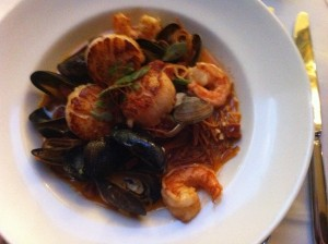 Scallops, prawns, mussels, clams and Spanish chorizo.