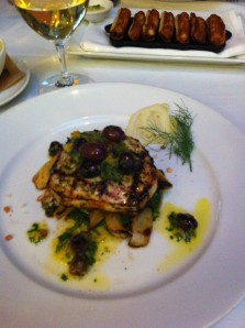 Swordfish with kalamata olives.